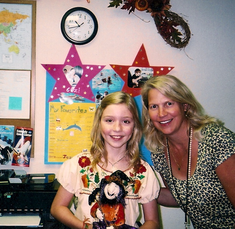 "Josie Batorski in the studio classroom with Cozi Zuehlsdorff during the filming of ""Dolphin Tale"""
