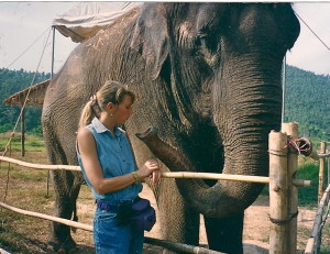 """Josie and Tai in Thailand on the set of """"Operation Dumbo Drop"""""""